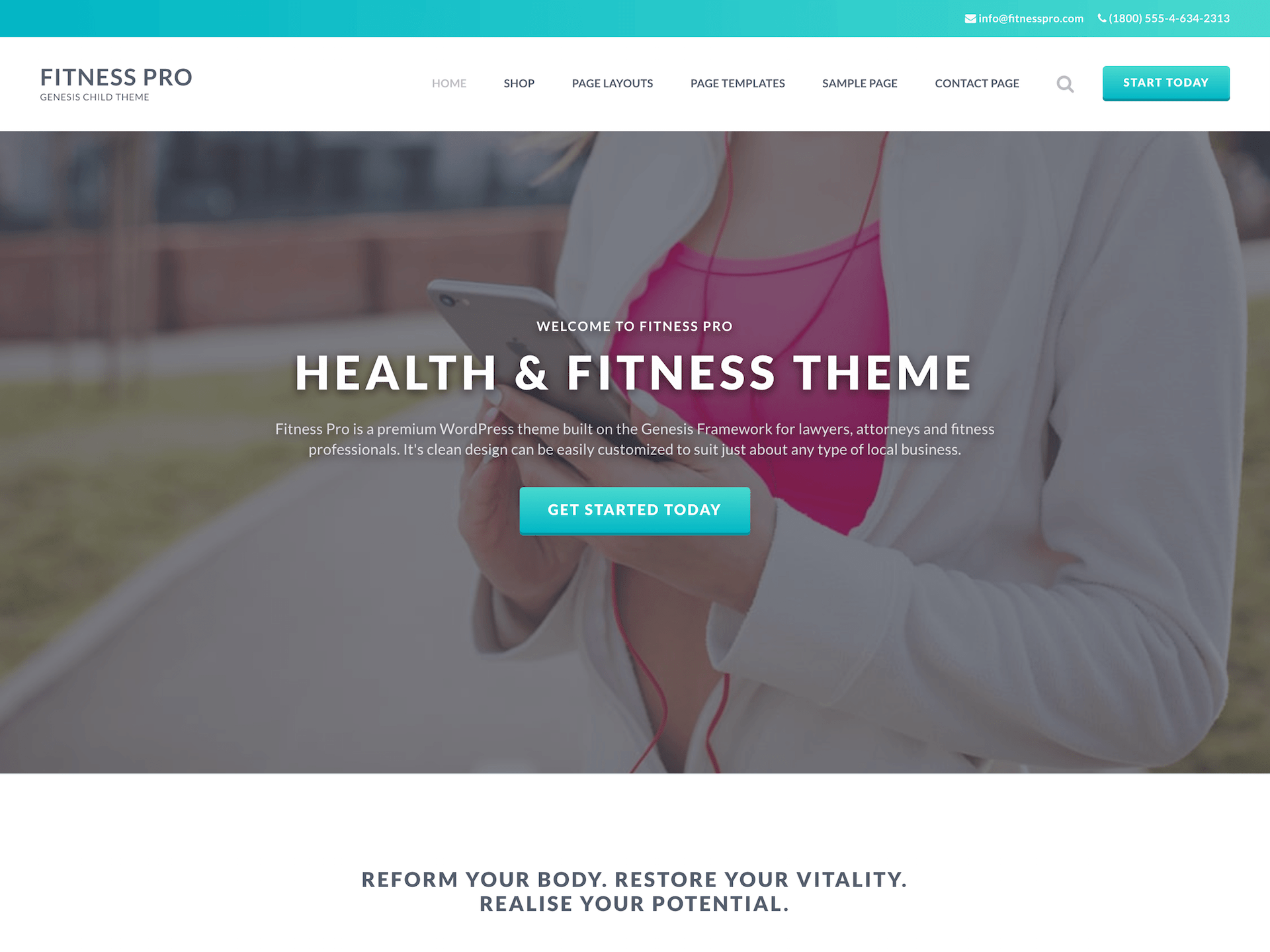 Fitness pro theme preview