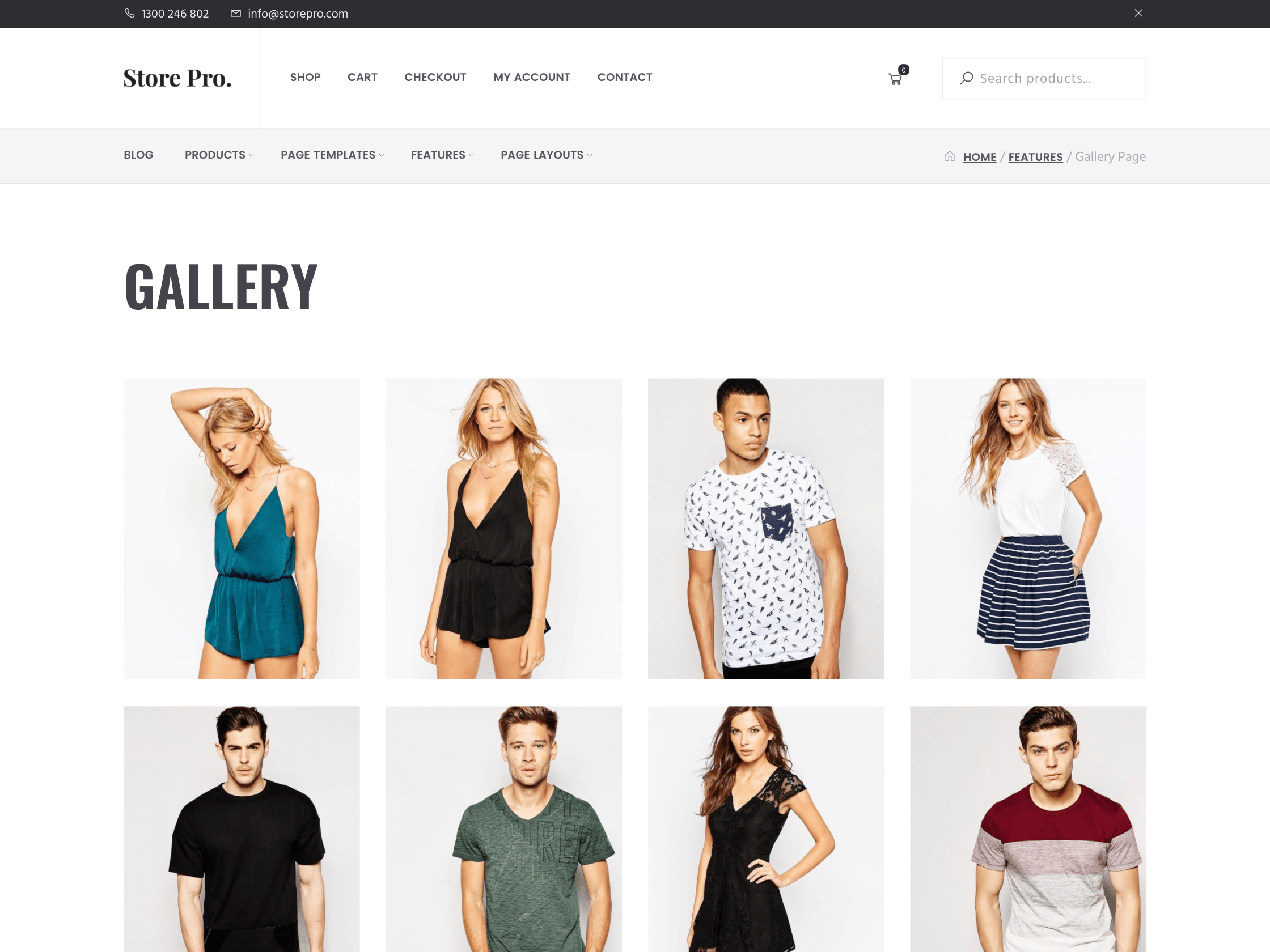 ecommerce theme gallery page