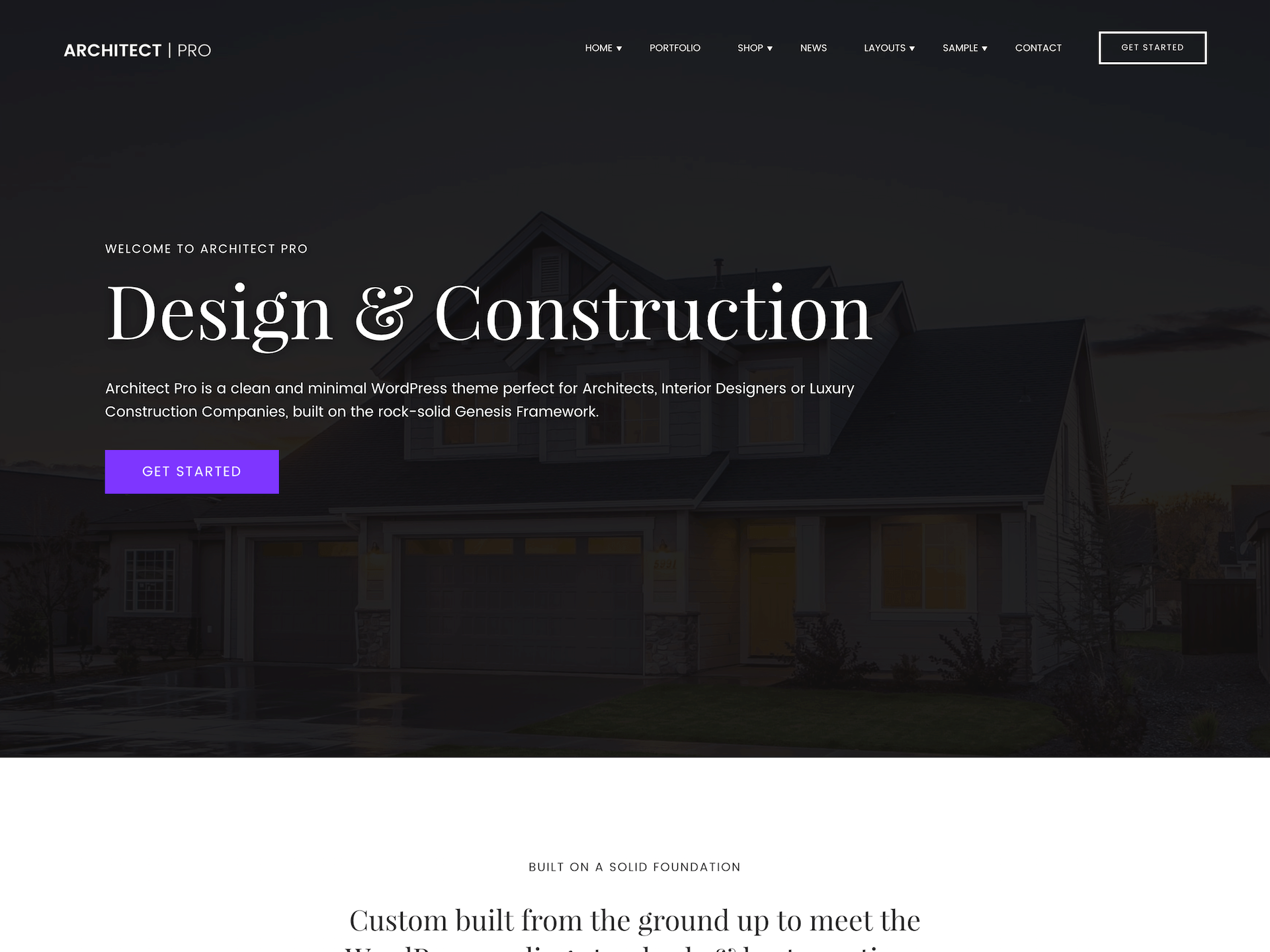 Architect WordPress theme design
