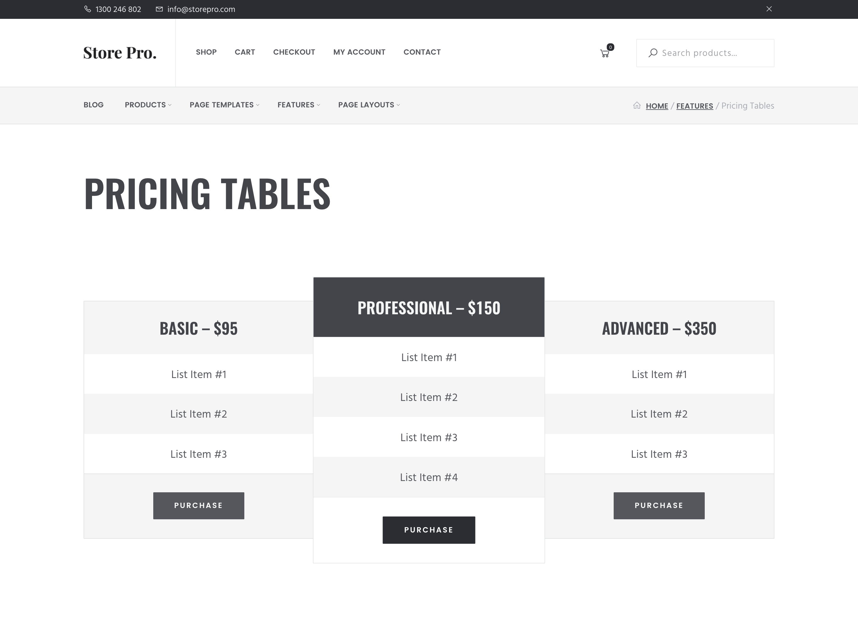 woocommerce genesis theme price tables