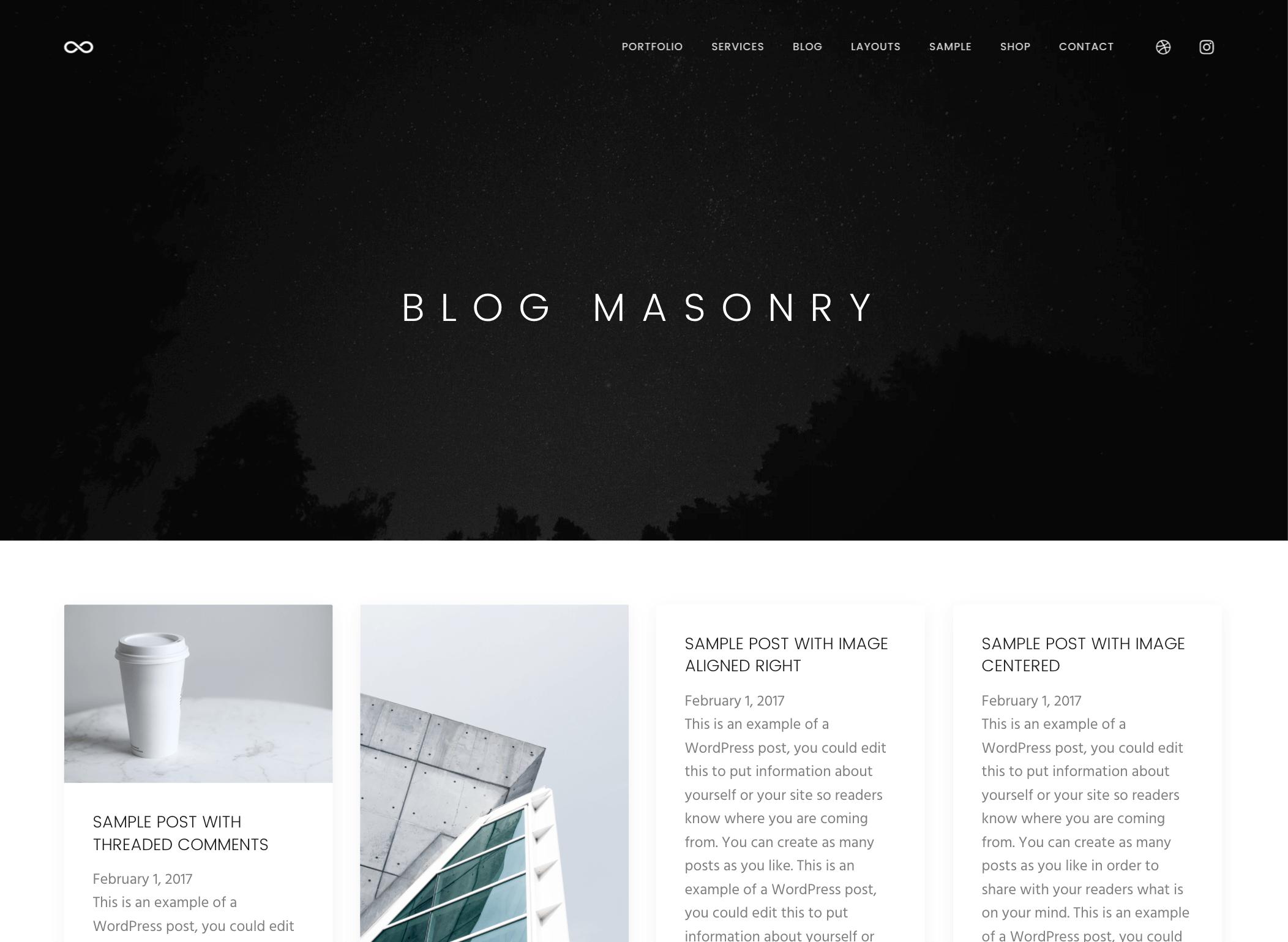 masonry blog genesis theme
