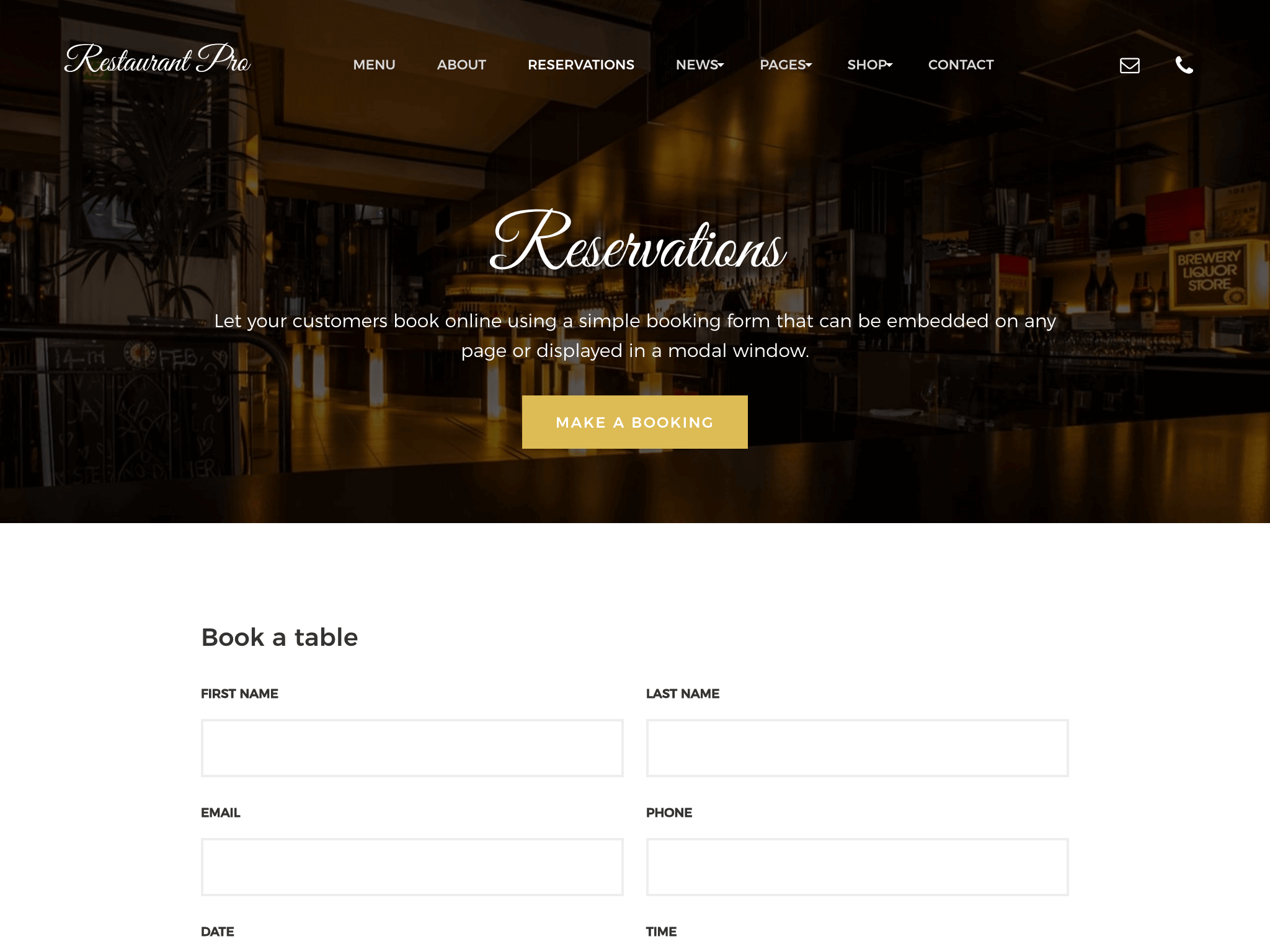 restaurant bookings theme