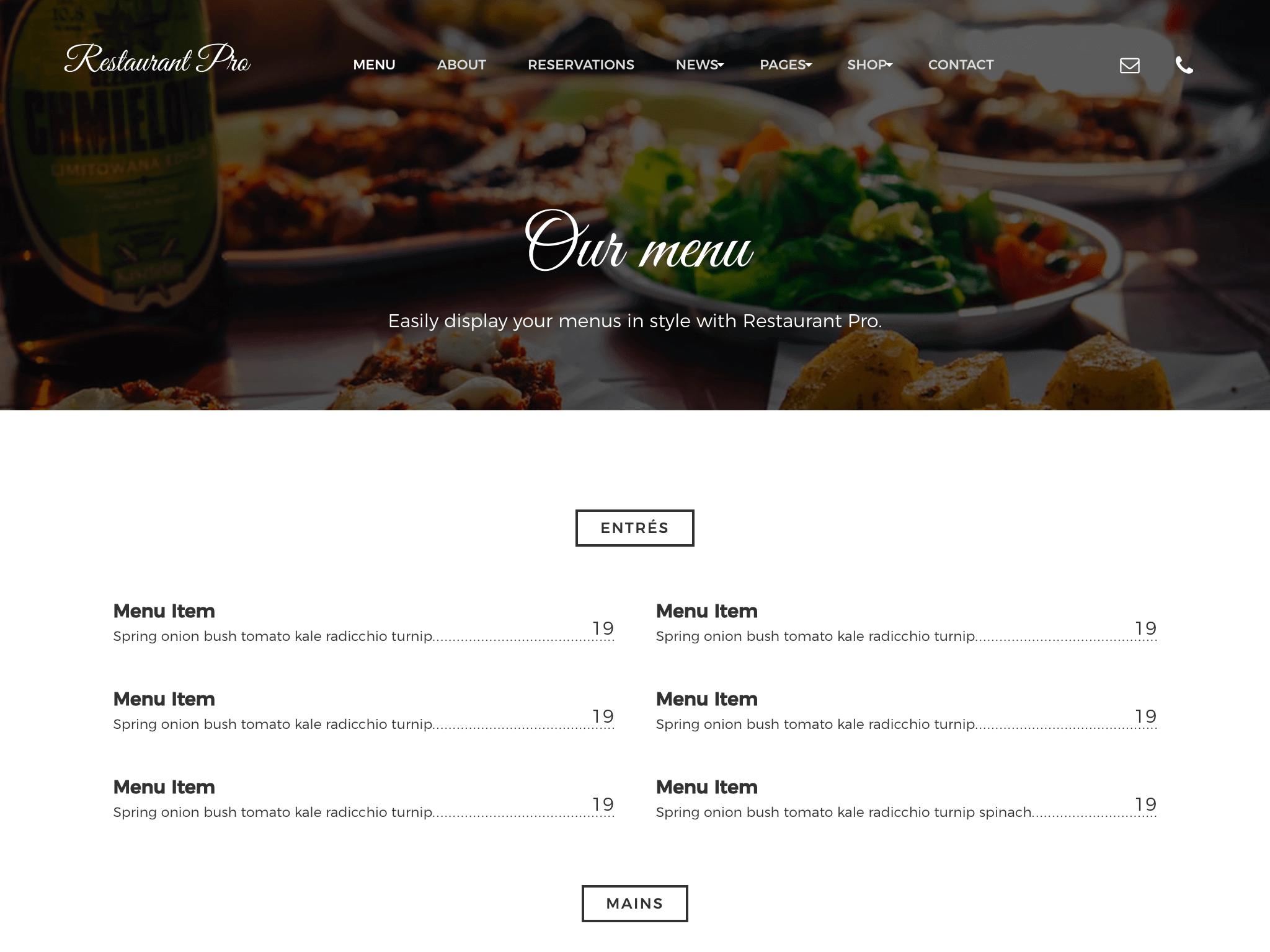 restaurant menu wordpress theme